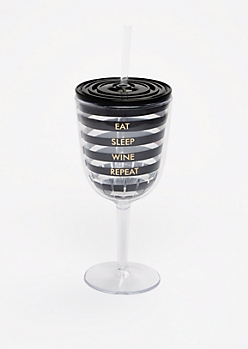 Eat Sleep Wine Glass Tumbler