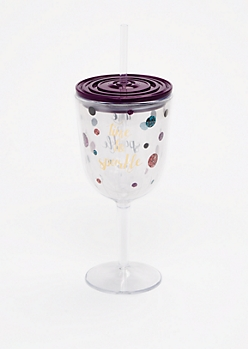 Time To Sparkle Wine Glass Tumbler
