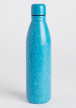 Turquoise Paint Splattered Insulated Water Bottle