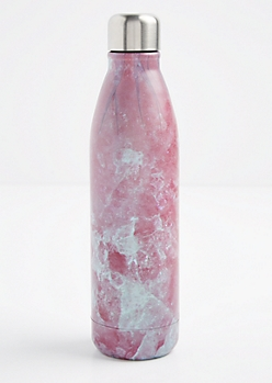 Pink Marbled Insulated Water Bottle
