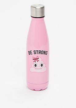 Be Strong Poo Emoji Metal Bottle