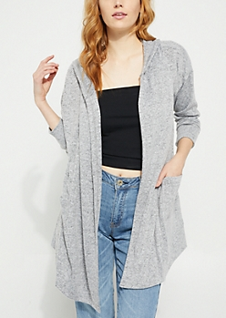 Gray Rose Embroidered Hacci Knit Hooded Cardigan
