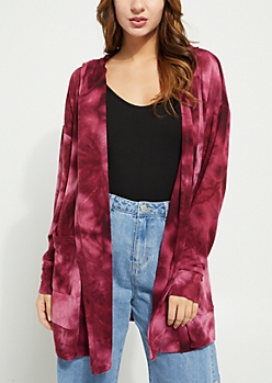 Burgundy Tie Dye Hacci Knit Hooded Cardigan