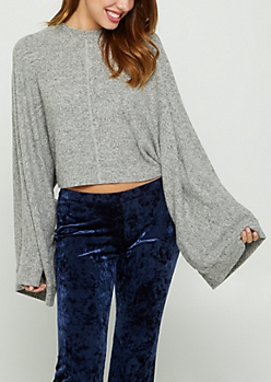 Heather Gray Dolman Hacci Sweater