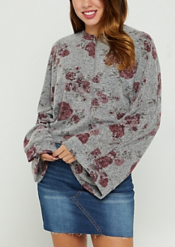 Heather Gray Floral Hacci Knit Sweater