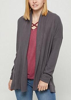 Charcoal Gray Hacci Knit Cardigan