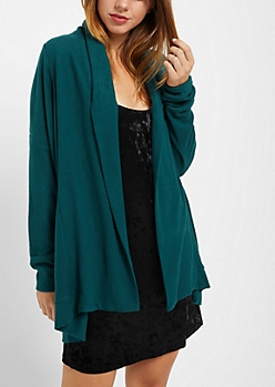 Dark Green Hacci Knit Cardigan