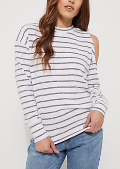 Gray Striped Cold Shoulder Sweater