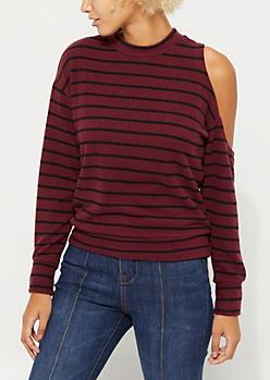 Burgundy Striped Cold Shoulder Sweater