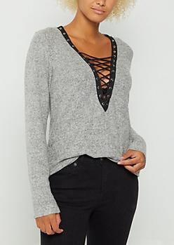 Gray Hacci Lace Up Shirt