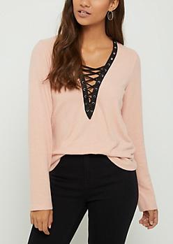 Pink Hacci Lace Up Shirt