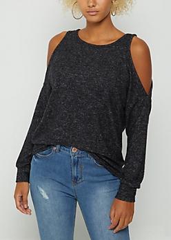 Black Cozy Cold Shoulder Top