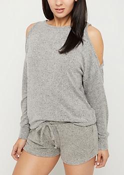 Gray Cozy Cold Shoulder Top