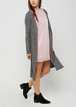 Black Ribbed Cardigan Duster