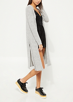 Gray Ribbed Cardigan Duster