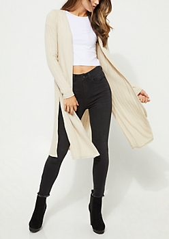 Oatmeal Ribbed Cardigan Duster