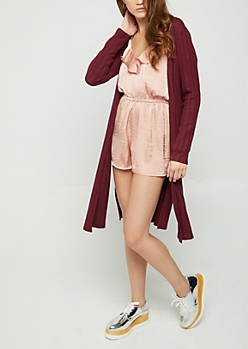 Burgundy Ribbed Cardigan Duster