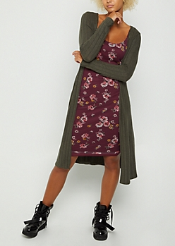 Olive Ribbed Cardigan Duster