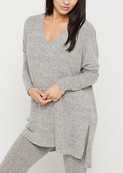 Gray Cozy Split Seam Tunic Top