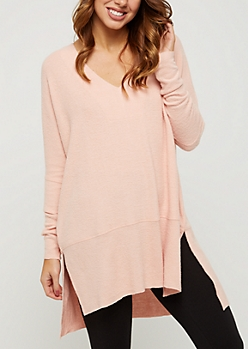 Pink Cozy Split Seam Tunic Top