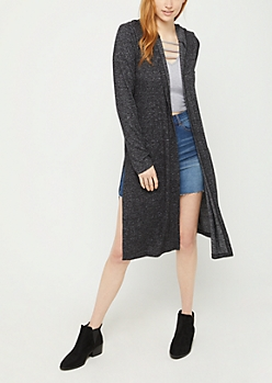 Black Hooded Hacci Knit Duster