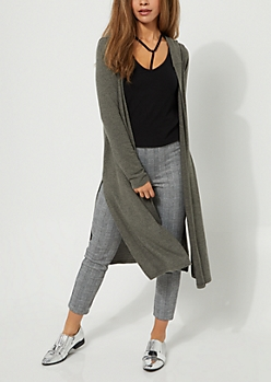 Olive Hooded Hacci Knit Duster