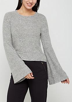 Gray Fleece Soft Knit Sweater