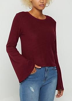 Burgundy Fleece Soft Knit Sweater