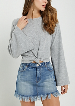 Heather Gray Knotted Hem Hacci Sweater