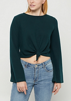 Dark Green Knotted Hem Hacci Sweater