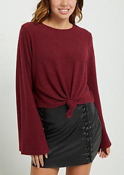 Burgundy Knotted Hem Hacci Sweater