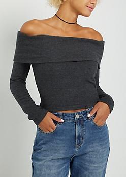 Black Fold Over Off Shoulder Hacci Sweater