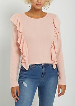 Pink Flutter Ruffled Hacci Sweater
