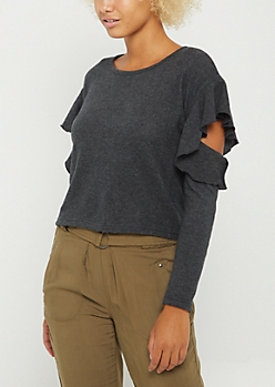 Black Ruffled Cold Shoulder Hacci Sweater