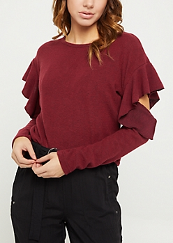 Burgundy Ruffled Cold Shoulder Hacci Sweater