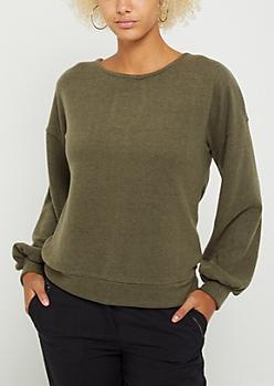 Olive Ribbon Keyhole Puff Sleeve Sweater