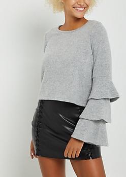 Gray Ruffled Sleeve Hacci Sweater