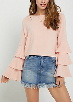 Pink Ruffled Sleeve Hacci Sweater