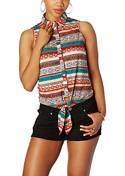 Tribal Sunset Tie Front Tank