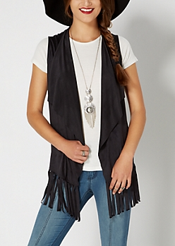 Black Cascading Fringed Vest