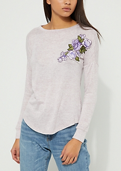 Dark Purple Rose Embroidered Hacci Knit Top
