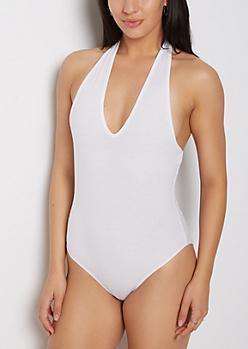 White Jersey Halter Bodysuit