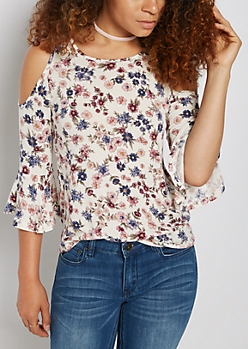 Floral Ruffled Cold Shoulder Top & Choker