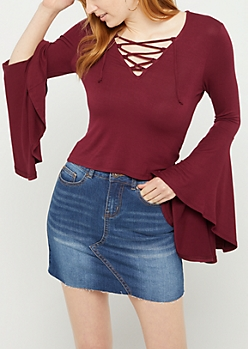 Purple Lace Up Bell Sleeve Shirt