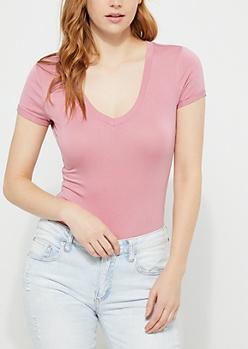 Pink V-Neck T-Shirt Bodysuit