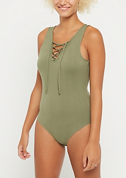 Olive Lace Up Tank Top Bodysuit