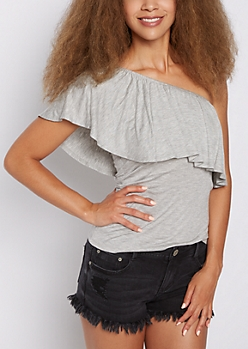 Heather Gray Flounce One Shoulder Top