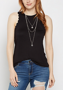 Black Ruffled Tank Top & Necklace