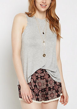 Heather Gray Ruffled Tank Top & Necklace
