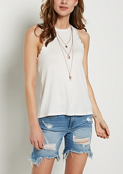 White Ruffled Tank Top & Necklace
